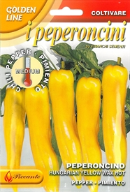 Chilli Pepper <i>Hungarian Yellow Wax Hot Peperoncini &lsquo;Golden Line&rsquo;</i> seed
