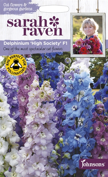 Sarah Raven Cut Flowers Delphinium High Society Mixed F1 seed