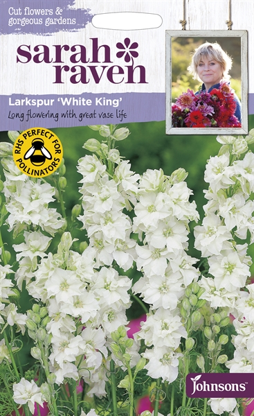Sarah Raven Cut Flowers Larkspur White King seed